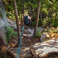 The decent is steep and difficcult in places.- Shannon Falls Provincial Park
