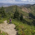 Nearing the summit, the trail is steep but in good condition.  - Grandeur Peak