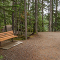 A bench near the lookout for Brandywine Falls.- Brandywine Falls Provincial Park