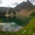 Walking along the lakeshore enjoying the wildflowers.- Lake Agnes + The Beehive Hike