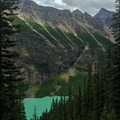 First view of Lake Louise from partway up the trail.- Lake Agnes + The Beehive Hike