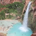 Havasu Falls from the overlook on the trail.- Mooney + Beaver Falls Hike from Supai