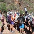 Reminder to have 3 points of contact at all times on the descent.- Mooney + Beaver Falls Hike from Supai
