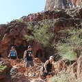 Descending toward Mooney Falls.- Mooney + Beaver Falls Hike from Supai