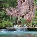 The beautiful Havasu Creek water is 70 degrees year-round.- Mooney + Beaver Falls Hike from Supai
