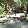 The rocks can be slippery along the creek.- Mooney + Beaver Falls Hike from Supai