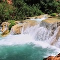 Beautiful blue green water of the creek.- Mooney + Beaver Falls Hike from Supai
