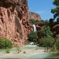 Mooney Falls comes into view.- Mooney + Beaver Falls Hike from Supai