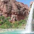 Havasu Falls provides a refreshing place to cool off after returning from Mooney Falls.- Mooney + Beaver Falls Hike from Supai