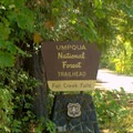 Sign for Fall Creek Falls along Highway 138.- Fall Creek Falls National Recreation Trail
