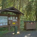 Fee and information station for Boulder Flat Campground.- Boulder Flat Campground