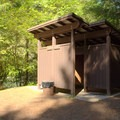 Changing rooms near the boat launch area in Boulder Flat Campground.- Boulder Flat Campground