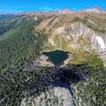 Saint Mary's Lake and Saint Mary's Glacier from the air.- Saint Mary's Glacier + Saint Mary's Lake