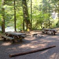 A double site with a view of the river in Eagle Rock Campground.- Eagle Rock Campground