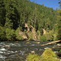 The North Umpqua River flows right next to Eagle Rock Campground.- Eagle Rock Campground