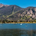 People enjoying the lake.- Dillon Reservoir Recpath