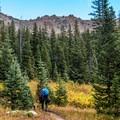 Hiking through the high meadows above the lake.- Nolan Lake