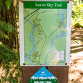 Sea-To-Sky Trail marker and campground map.- Cal-Cheak Recreation Site + Campground