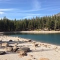 The sandy and rocky shore makes it easy to walk around the enitre lake.- McLeod Lake Trail