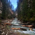 Occasionally the trail is level with the creek.- Johnston Canyon Upper Falls Hike