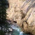Spring water pouring down the canyon wall.- Johnston Canyon Upper Falls Hike