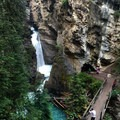 High viewpoint over the Lower Falls.- Johnston Canyon Upper Falls Hike