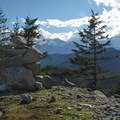 The cairn signifying the trailhead to Star Chek. - Star Chek Climbing Route
