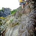 The bottom of the rappel has fixed ropes to lead you to the bottom of the climb.- Star Chek Climbing Route