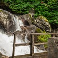 A bridge along the trail offers a view of the torrent.- Stawamus Chief Summit Trail Hike