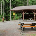 A communal cooking and eating area.- Stawamus Chief Provincial Park + Campground