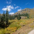 Hikers on the trail close to the Lower Ice Lake basin.- Ice Lake + Island Lake Hike