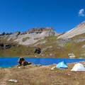 Camping is allowed in the area.- Ice Lake + Island Lake Hike