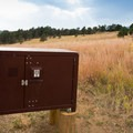 Food storage boxes are shared.- Sawmill Hikers Campground