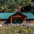 The large cabins, with baths and kitchens, can accommodate eight people.- Sylvan Lake Campground