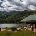 Some of the cabins have great views of the lake.- Sylvan Lake Campground