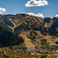 The town of Aspen and the ski mountain above it.- Hunter Creek Trail
