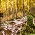 The trail enters the wilderness area just as it leaves Maroon Lake.- Crater Lake + Maroon Lake Hike via the Maroon-Snowmass Trail