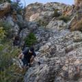 Descending the scrambling section.- Mount Olympus via Wasatch Boulevard Trailhead
