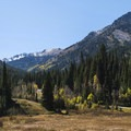 Looking toward the Donut Falls Hike Trailhead.- Scenic Highway 190 to Guardsman's Pass