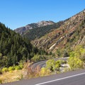 The hairpin turn just above the trailhead to Lake Blanche and Broad's Fork.- Scenic Highway 190 to Guardsman's Pass