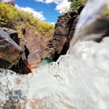 This is what it looks like from within the falls.- South Fork Mineral Creek
