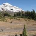 Middle Sister (right, 10,047 ft) from the PCT.- Chambers Lakes Hike via Obsidian Trailhead