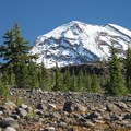 First glimpse of South Sister (10,358 ft) en route to Chambers Lakes.- Chambers Lakes Hike via Obsidian Trailhead