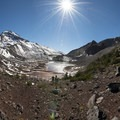 Panoramic view of South Sister (10,358 ft) and Chambers Lakes looking west.- Three Sisters Wilderness Westside Hike