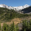 View of North Sister (left, 10,085 ft) and Middle Sister (right, 10,047 ft) from the Pacific Crest Trail.- Eileen Lake + The Husband Lake Hike