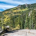 The aspens are beginning to turn color in late September- The Grottos Hiking Trails