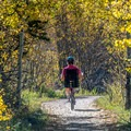 Biking the scenic East of Aspen Trail.- East of Aspen Bike Trail