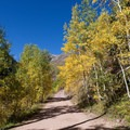 The road crosses an aspen grove in the first half mile.- Clear Lake