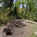 Each site features a fire ring and picnic table. - Gore Creek Campground