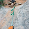 The first rappel is off of a buried deadman.- Fins N Things Canyoneering